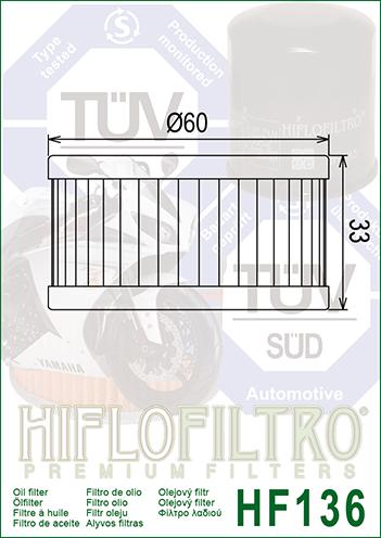 FILTRO OLIO HIFLO HF 136 SUZUKI DR 250 350 VL 125 INTRUDER GN 250 GZ 250 TU 250