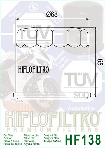 Oil Filter Chrome For 1993 Suzuki VS1400GL Intruder~Hiflofiltro HF138C