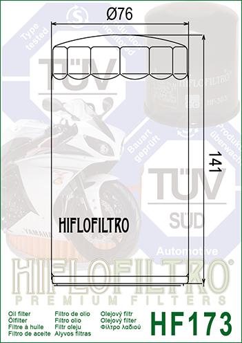 HiFlo HF173 Harley Davidson Dynaglide Chrome Motorcycle Oil Filter 1992-1998